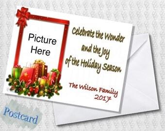 Season's Greetings Photo Card; Christmas Card; Multiple Photo Card; Red; Green; Presents; Printed; PDF; Digital; Folded; Postcard; Shipped