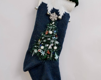 Personalized Knit Christmas Stocking Blue