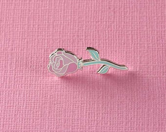 Single Pink Rose Enamel Pin // Floral Pin Badge/Brooch/Lapel Pin // Valentines/Galentines Gift