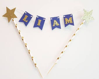 Decoration - Garland name for cake - blue and gold-
