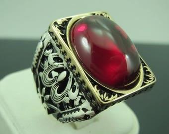 Turkish Handmade Jewelry 925 Sterling Silver Ruby Stone Men's Ring Sz 10
