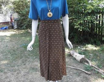 Vintage Funky Abstract Print Flare Midi Skirt