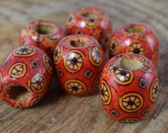 16mm Exotic Wooden Barrel Round Beads/Wooden Beads/ Floral Wooden/Leopard Wooden Beads/ Natural Large Hole Beads/Wooden Jewelry,