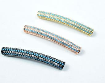 Micro Pave CZ Rhinestone Tube Bar Connector Beads High Quality 3 Colors