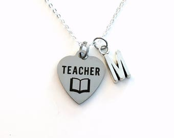 Teacher Necklace, Principal Jewelry, Kindergarten Play school Assistant EA TA Charm Thank you Gift for Man women birthday Christmas present