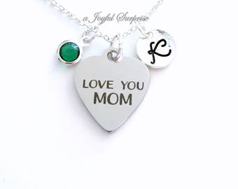 Love You Mom Necklace, Gift for Mother Jewelry, Birthday Present Mother's Day Charm Pendant Birthstone Initial Personalized Custom from Kids