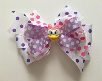 Daisy Duck Bow Daisy Duck Pink and Purple Bow Pink and Purple Polka Dot Bow