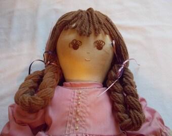 Cloth Doll, Raggedy Ann type Doll, Handmade Cloth Doll, Vintage Cloth Doll