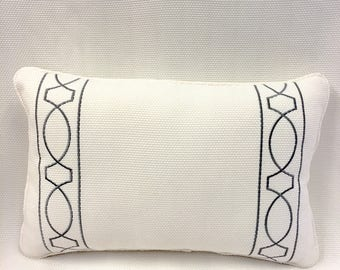 JF White with Embroidered Design Pillow Cover, Eurosham or Lumbar Pillow Accent Pillow, Throw Pillow