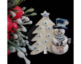 Snowman Christmas Pin * Snowman And Christmas Tree Brooch * With Dangle Stars * Rhinestones * Signed KC * Fun Holiday Pin