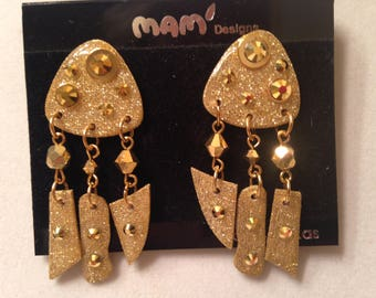 "Vintage Designer Mam' Collectors Gold ""Bobbies"" W/Crystals And Jewels Dangle Pierced Earrings"