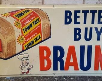 Braun's White Bread Metal Tin Lithograph Sign Advertising Chef Kitchen Wall Home Decor Mid Century Modern Retro Vintage