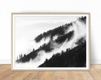 Forest Print, Foggy Forest Art, Nature Photography, Black and White Prints, Landscape Prints, Digital Landscape, Wall Art, Forest Poster