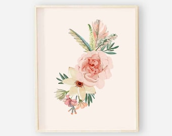 Blush Floral Nursery Digital Print | Nursery Wall Art | Antler Floral Wall Art | Floral Baby Girl Nursery Decor | Blush Boho Floral 1