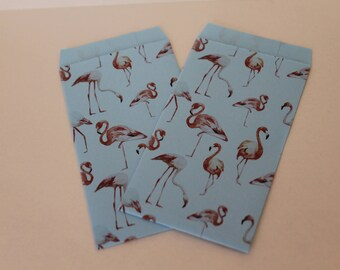 20 paper Bags flamingos/blue rice confetti Favor Pocket bags sachets paper confetted goodies bags Wedding