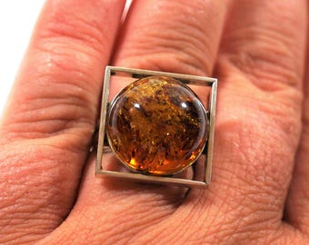 Handmade Silver Baltic Amber ring 10g