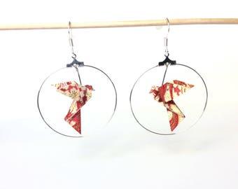 Hoop earrings origami Dove, pink birds, origami Dove, 925 Silver hook earrings