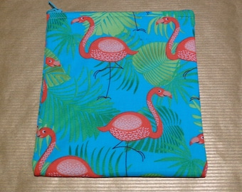 Pretty Flamingo Top Zip Poppins Waterproof Lined Zip Pouch - Sandwich bag - Eco - Snack Bag - Bikini Bag - Lunch Bag - Make Up Bag