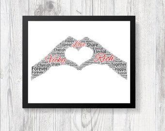 Personalised LOVE Hands Heart WORD ART Print Gift Keepsake Birthday Valentines Christmas Girlfriend Boy Friend Wife Husband Partner