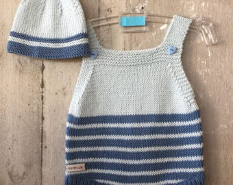 Baby boy romper, Newborn romper, birthday outfit, knit baby boy romper, Handmade, Baby Clothes, Coming Home Outfit + hat READY TO SHIP