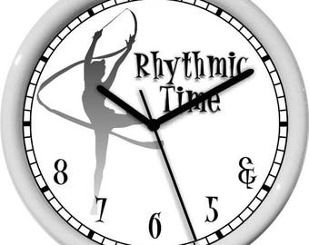 Rythmic Time White and Gray Wall Clock Personalized Gift & 5 6 7 8 Dance Studio Girl's Room Gift Dance Studio