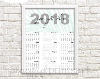 2018 You Got This Year At A Glance Calendar, 8x10, Instant Download, Printable, SALE!