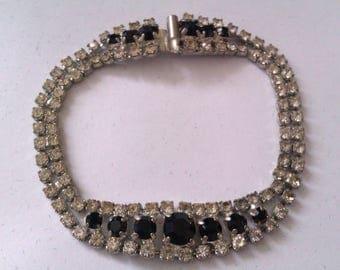 vintage clear & black stone bracelet