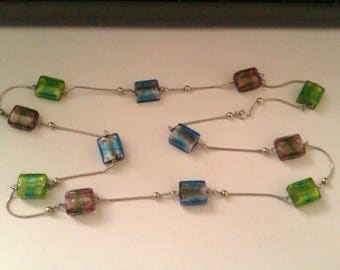 metallic look glass bead necklace stamped 925