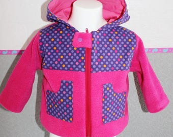 Coat, jacket, fleece, cotton lined with cotton jersey. Girl 18 M