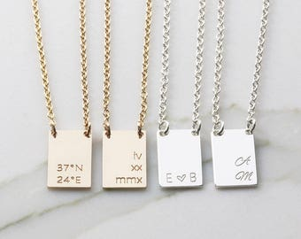 Personalized Name Necklace/ Initial Rectangle Necklace/ Tag Necklace/ Bridesmaid Gift/ Gift for her/ Name Plate Necklace (HCN OD Recg15.10)