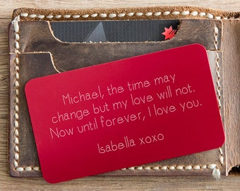 Mens Personalized Gift ~ Valentines Day Gift ~ Boyfriend Gift ~ Gift for men ~ Gift for Her ~ Engraved Wallet Card Insert ~ Gift for Mom