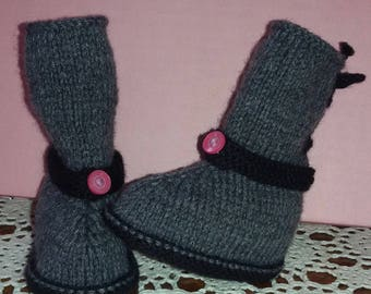 Knitted slippers boots grey baby size 1/3 months
