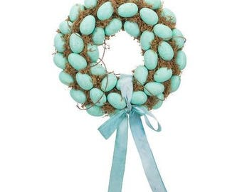 "15"" Blue Eggs Easter Moss Wreath"