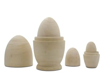 "5.25"" Set of 4 Unpainted Blank Wooden Nesting Eggs"