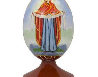 "4.75"" Blessed Virgin Mary Ukrainian Icon Wooden Figurine"