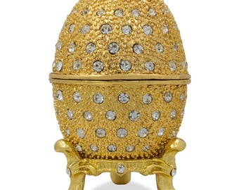 """2.5"""" 200 Crystals Gold Enamel Faberge Inspired Russian Easter Egg"""
