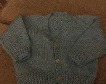 new hand Knitted Baby Boy blue cardigan 3 months approx