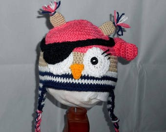Girl pirate OWL hat size 6/12 months made hand