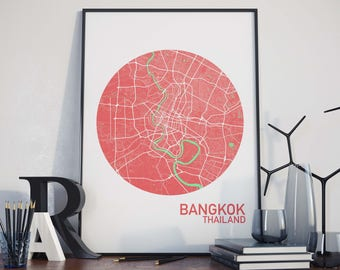 Bangkok, Thailand City Map Print