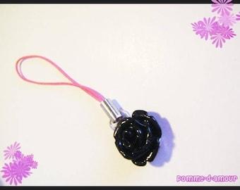 Cell phone charm strap resin black rose flower