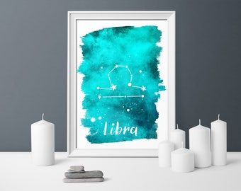 zodiac printable, zodiac signs, constellation, libra, zodiac mum gift, wall art astrology, gift for mum, zodiac, zodiac gift libra, download