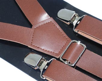 Brown Leather Suspenders | Leather Suspenders | Mens Suspenders | Groomsmen Suspenders | Wedding Suspender | Brown Suspenders | Ages 8-Adult