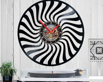 Vinyl clock,Shapes Clock,wave clock,spiral circle, watch,clock, quartz, vinyl, birthday, gift, funny, wall clock, housewarming, handmade