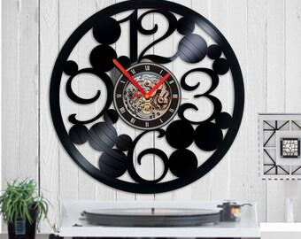 Vinyl clock numbers large Wall clock Wall clock large Vinyl wall clock kitchen clock modern clock unique clock,record clock,vinyl clocks