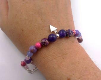 Silver bracelet beads Fuchsia gem stones and solid purple