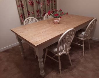 Made To Order Rustic Solid Pine Planked Farmhouse Kitchen Dining Tables Custom Your