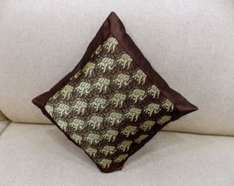Indian Pure Silk Cushion Cover Home Elephant Decorative Brown Color Size 17x17""