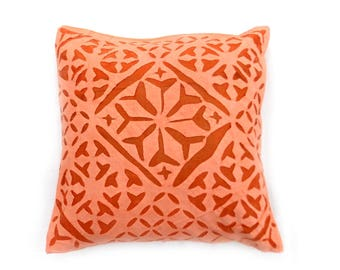 Indian Pure Cotton Cushion Cover Home Cut Work Decorative Orange Color Size 17x17""