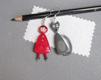 Little Red Riding Hood  Earrings,  Gray wolf, polymer clay jewelery, fimo, teacher gift, earrings mistress,  story for children, funny