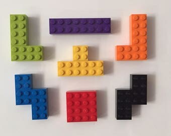 Tetris Fridge Magnets Made From Lego - 7 individual Magnets